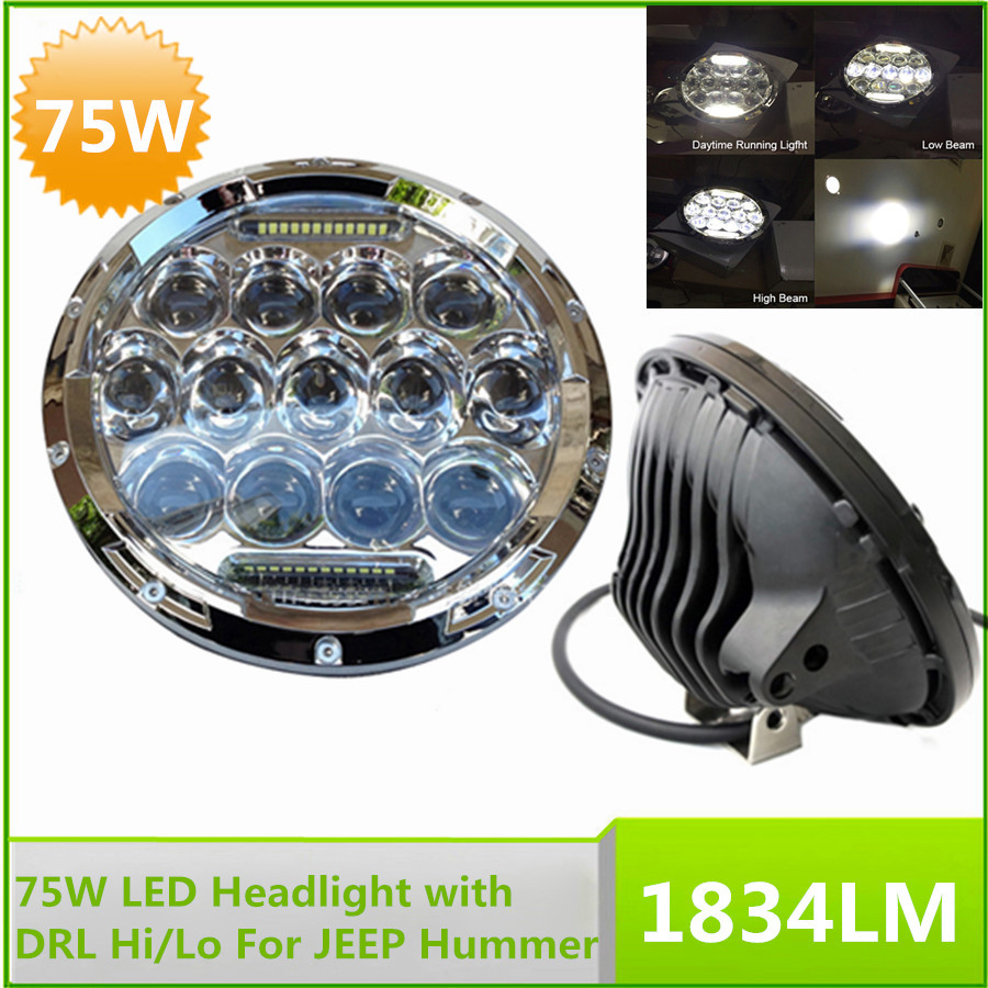 Pair 7'' 75W LED Headlight with DRL/Parking Light Hi/Lo Beam Bulb For JEEP Hummer Camaro FJ(China (Mainland))