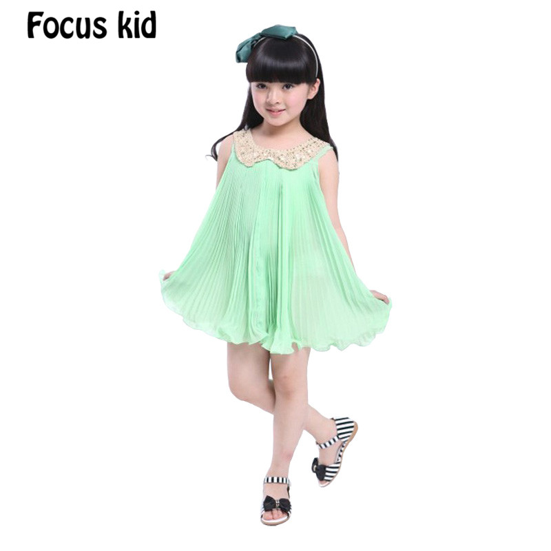 New 2016 Summer Girl Dress Doll Collar Chiffon Tank Dress Girls Clothes Sequined Dresses Folds Dress 4 colors Retail AA86(China (Mainland))