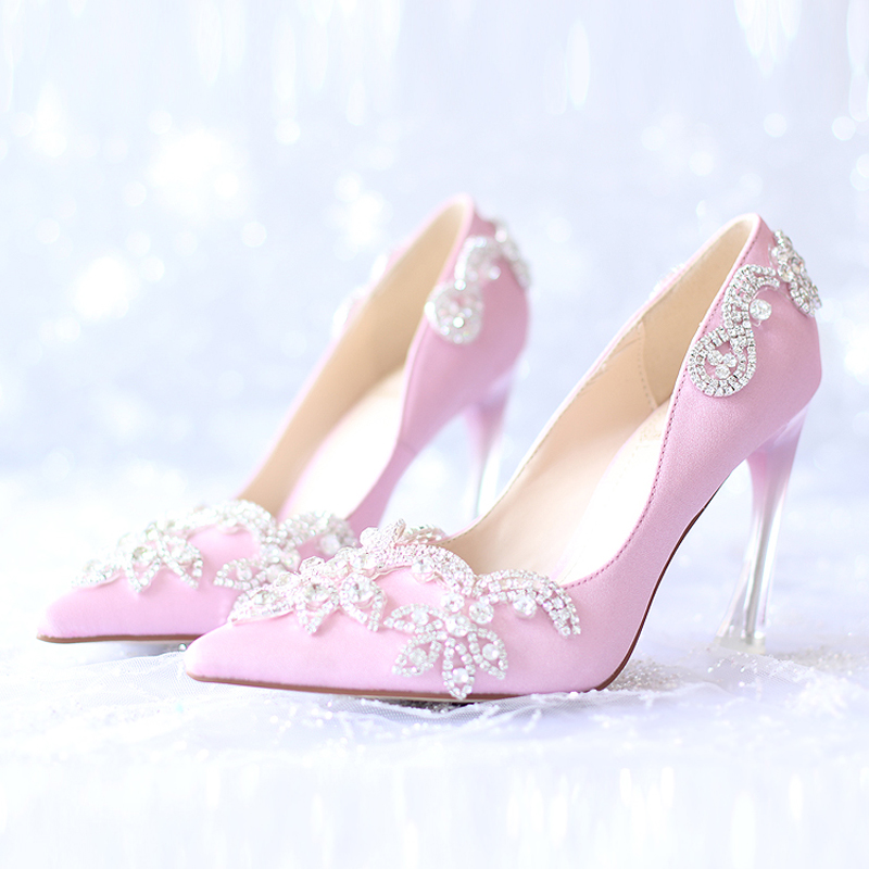 2016 Pink Satin Wedding Bridal Shoes Silver Crystal Pointed Toe Platform Shoes Pageant Party Pumps Mother of The Bride Shoes<br><br>Aliexpress