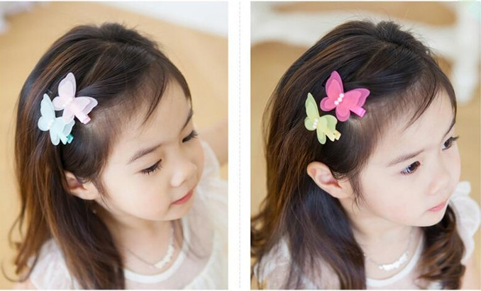 Cute Chiffon Double Butterfly Pearl Girls Hair Accessories Baby Hairgrips Princess Barrette Children Headwear Kids Hair Clips