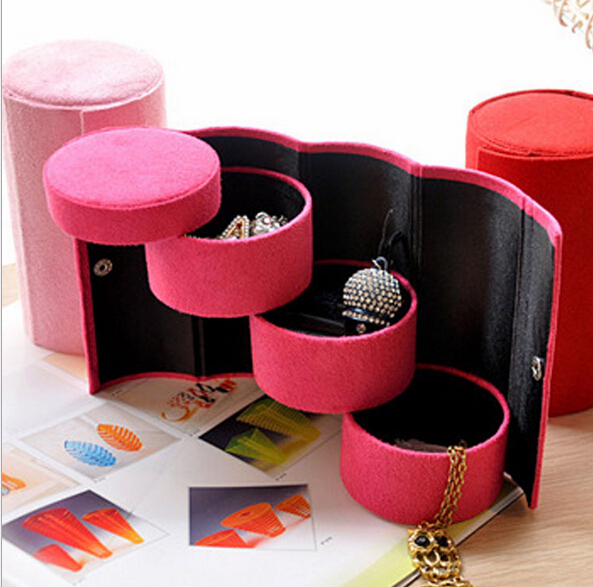 fahion 5pcs/lot Three multi-purpose Cute candy color storage jewelry box Packaging Display pill case organizer(China (Mainland))