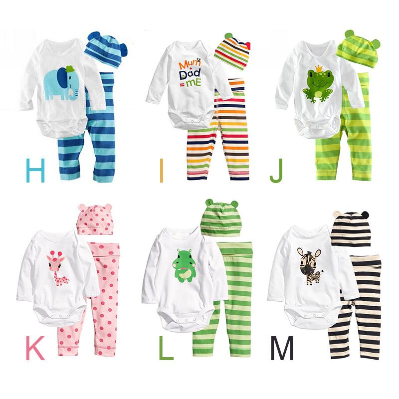 2015 Hot Newborn Carters Baby Girl Clothing Set (Romper+Hat+Pants 3 pcs) Infant Baby Boys Clothes Babies Pajamas Roupas Bebes(China (Mainland))
