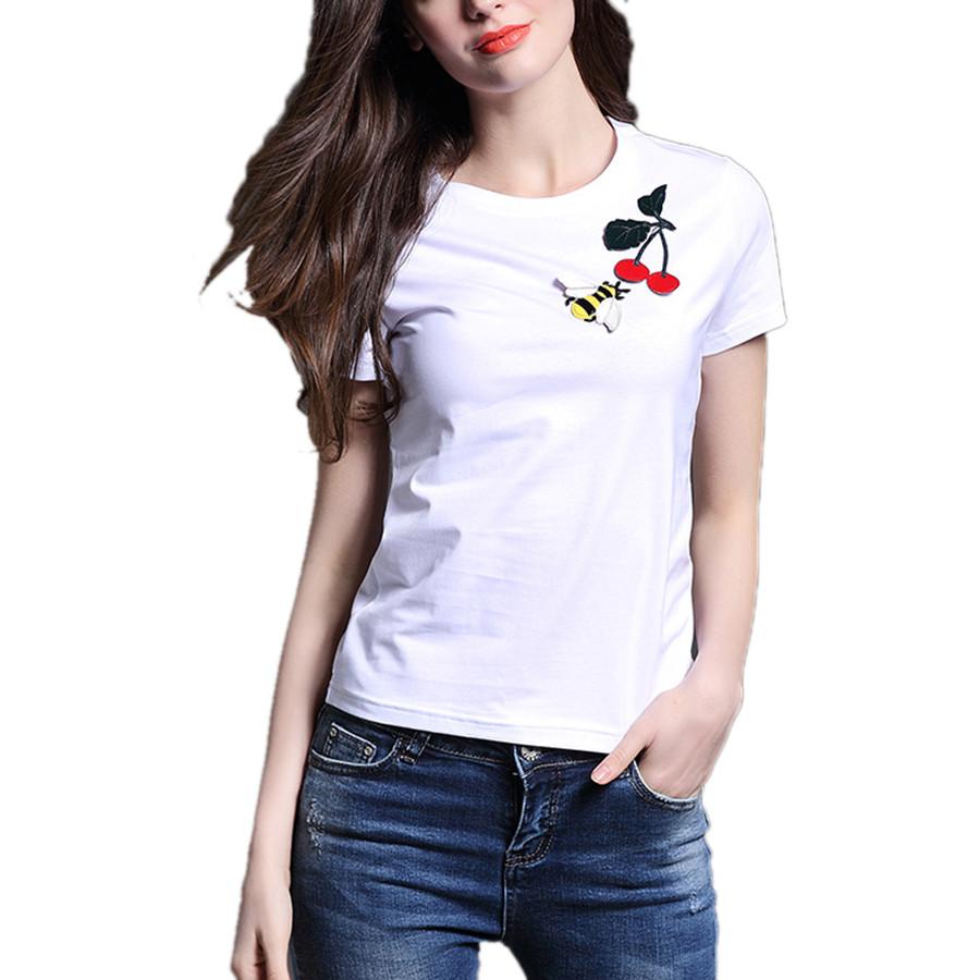 Cherry bee embroidery t shirt women tops brand white