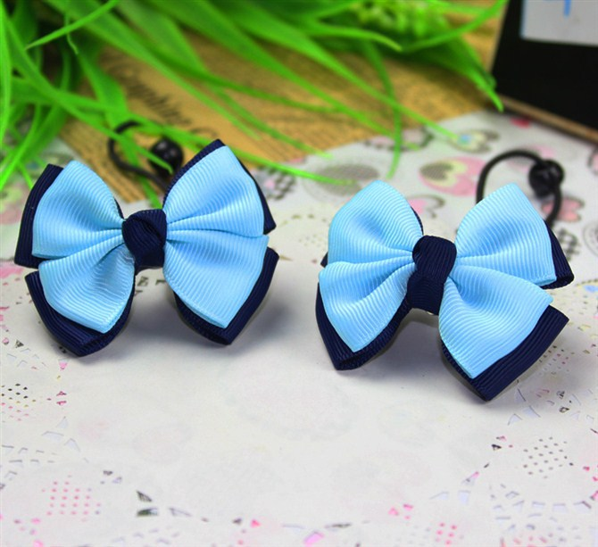 navy blue sky blue children kids baby girls hair accessories rubber bands barrettes girl bow Retail wholesale Boutique SF-125(China (Mainland))