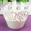12Pcs set New Laser Cut Cupcake Wrappers Liners Rose Design Vine Lace Cup Cak Wedding Favor