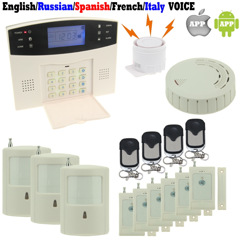 DIY Alarm System Kit M2B GSM Alarm Host Home Office Security Fire English/Russian/Spanish/French/Italy VOICE(China (Mainland))