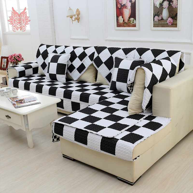 modern style black white plaid print sofa cover pure 100. Black Bedroom Furniture Sets. Home Design Ideas
