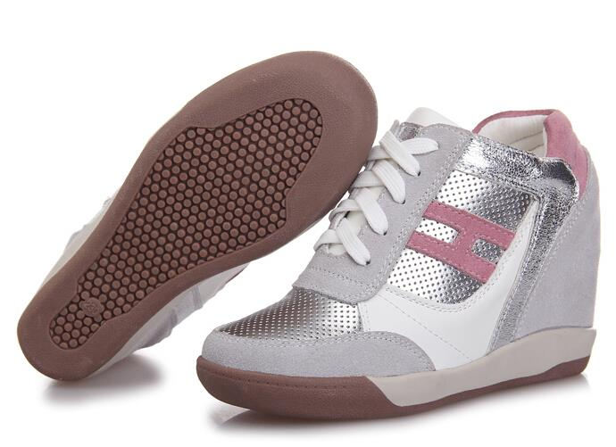 Spring 2015 New womens Lace-Up shoes,pink+gray High Platform Invisible Heighten Increasing Fashion Sneakers Women Shoes 2 Color<br><br>Aliexpress