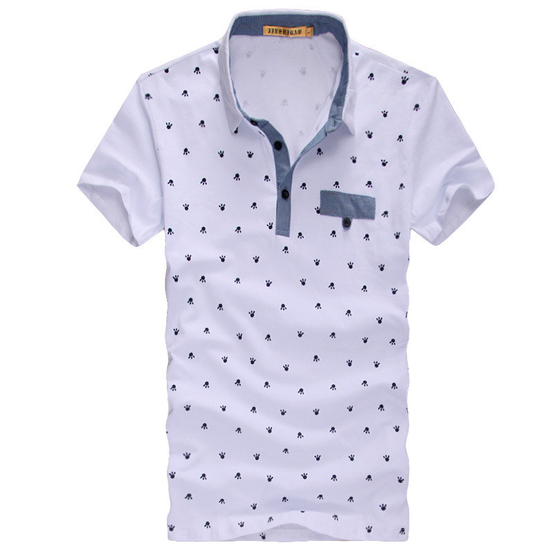 Mens Printed Polo Shirts Fashion Mandarin Collar Short Sleeve 2015 Black And White Polka Dot Blouses(China (Mainland))