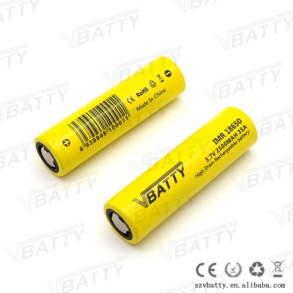 2016 New Vbatty 18650 2500mah 35A high drian battery 3.7v imr18650 li ion rechargeable battery better than lg he2 lg he4(China (Mainland))