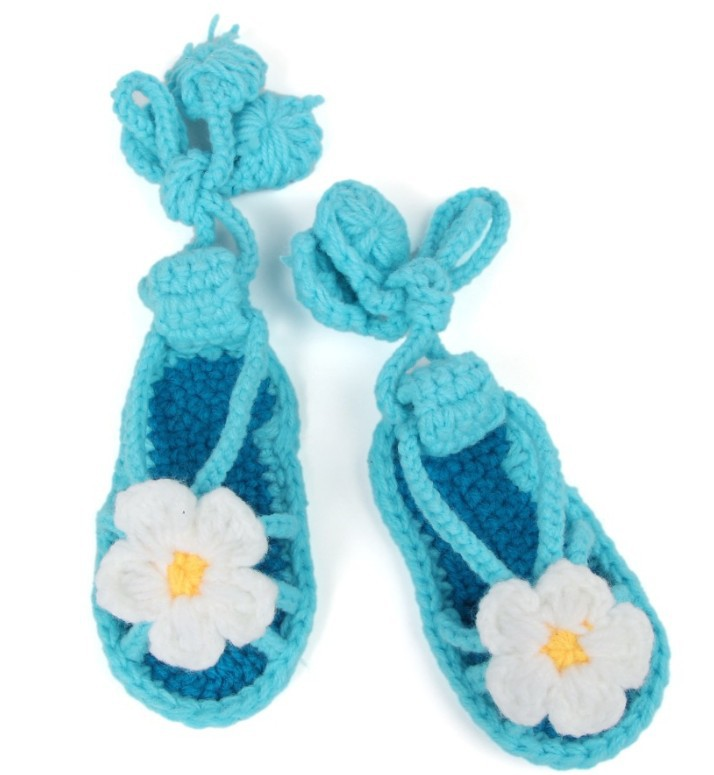 Baby Knitting Shoes Products : Crochet baby sandals girl knitting shoes