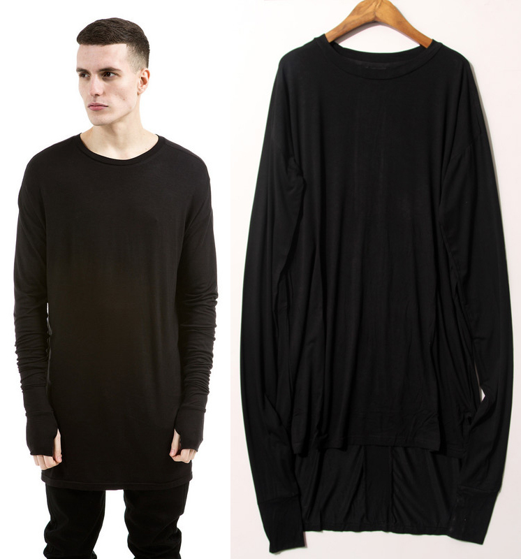 men oversized extended t shirt men thumb hole high low side split. Black Bedroom Furniture Sets. Home Design Ideas