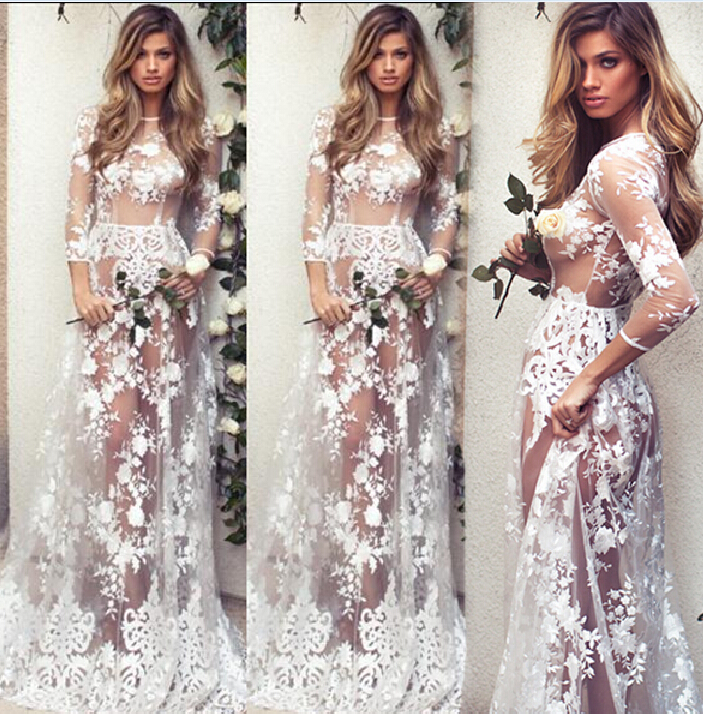 New Fashion Sexy Women's Summer Floral Long Dress Casual Ladies Clothing Long Sleeve Hollow Lace Clothes