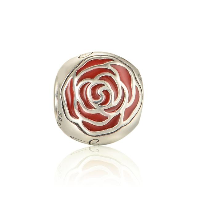 Красной эмалью роуз бусины чистый 925-Sterling-Silver подходит пандора браслет DIY ювелирных украшений выводы оптовая продажа серебро 925