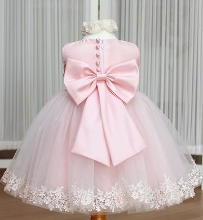 Girls Dress Princess dress children's wear Party veil Big bow girl wedding flower Baby girls dress pink white(China (Mainland))