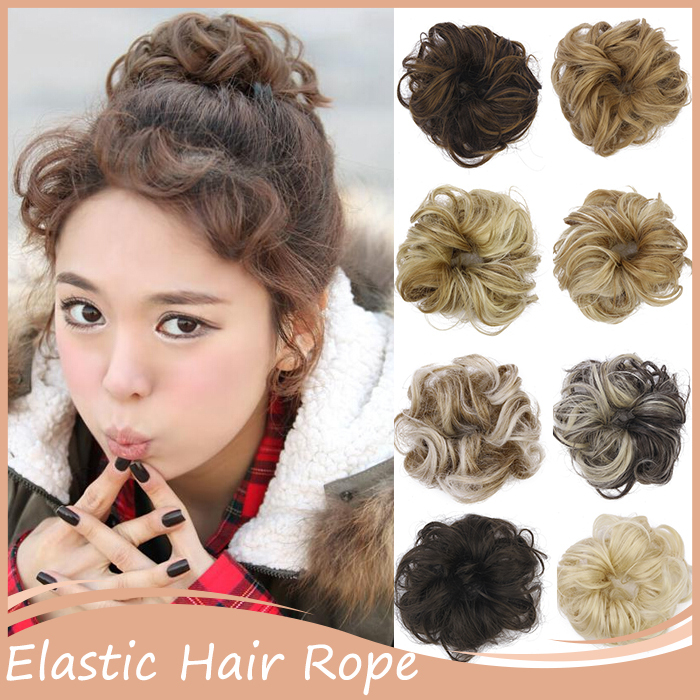 1PC Elastic Hair Rope Scrunchee Hair Scrunchie Hairpiece Tray Ponytail Holder Hairpieces Synthetic Hair Bun Maker(China (Mainland))