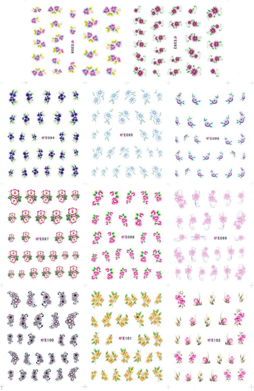 11 PACKS / LOT 3D SIMULATION FLOWER LILAC LADY'S EARDROPS SELF-ADHESIVE NAIL TATTOOS STICKER E0056-093-102(China (Mainland))