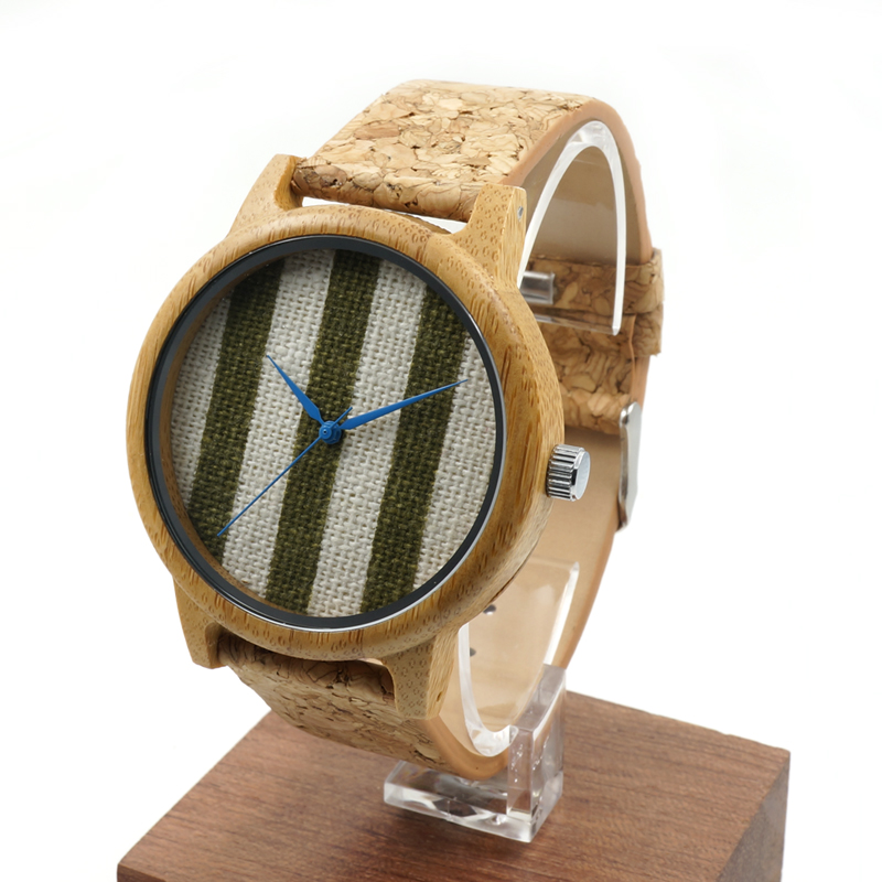 2016 New Design Chambray Stripes Craft Round Bamboo Watches Men's Women's Fashion Quartz Wristwatch with Soft Wooden Band(China (Mainland))