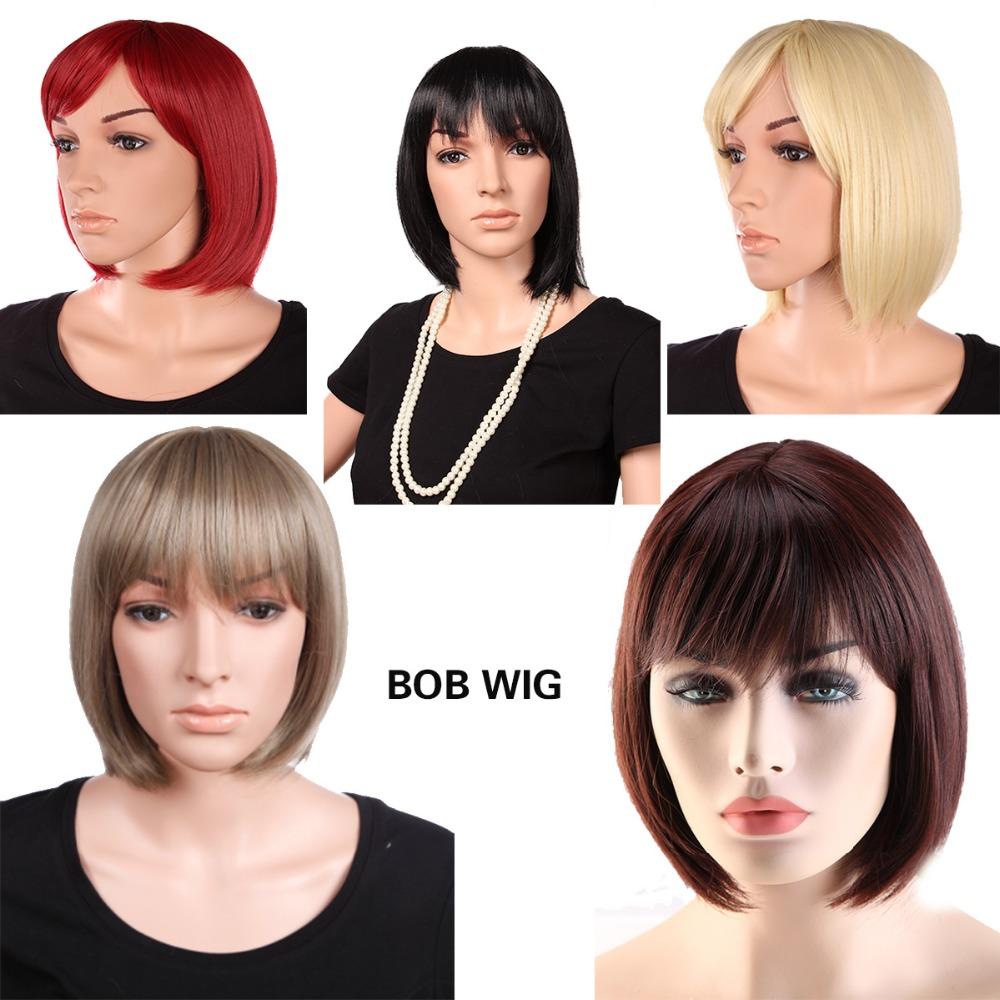 "12"" (32cm) Bob Short Wig Black/Brown/Red/Blonde Neat Bangs Japanese Kanekalon Heat Resistant as Remy Hair for Daily Dress(China (Mainland))"