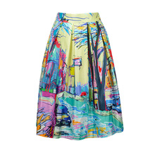 Elastic High Waist Retro Style Satin Casual Skirt Floral Printed Knee-Length Multi Color Tutu Women Summer Casual Skirts Vestido