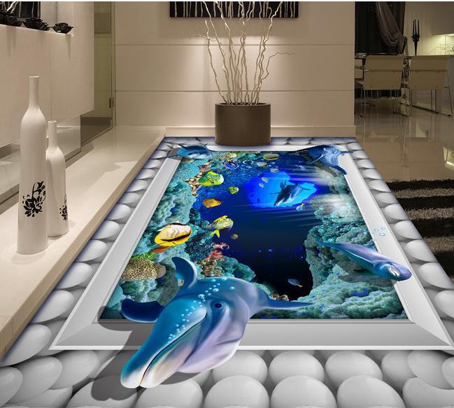 Mural wallpaper hd 3d underwater world for paintings bathroom floor