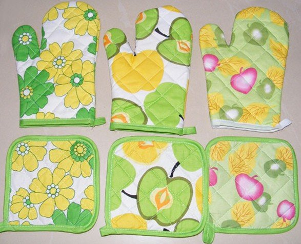high quality cotton glove / kitchen tool / safety glove / oven mitt / heat pad free shipping(China (Mainland))