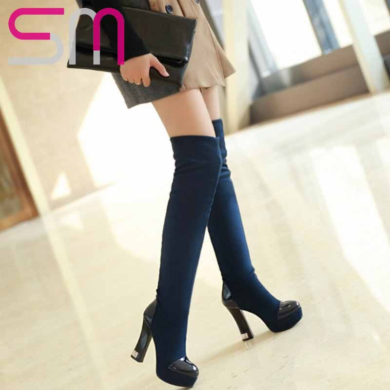 2 Styles 2015 Patchwork Over the Knee Boots for Lady's Hoof High Heels Platform Slim Long Boots Women Boots Autumn Winter Boots