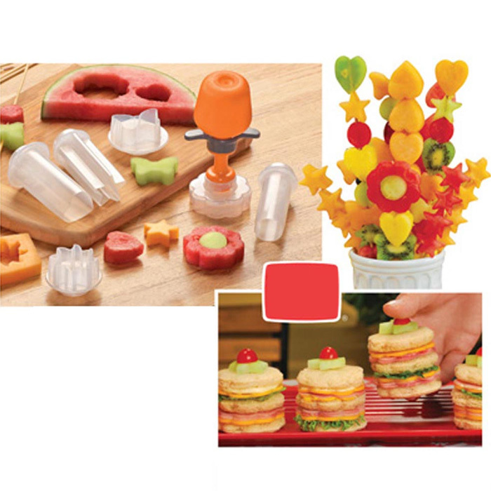 Creative Kitchen Accessories Cooking Tools Plastic Fruit Shape Cutter Slicer Veggie Food Decorator Fruit Cutter Free Shipping A1(China (Mainland))