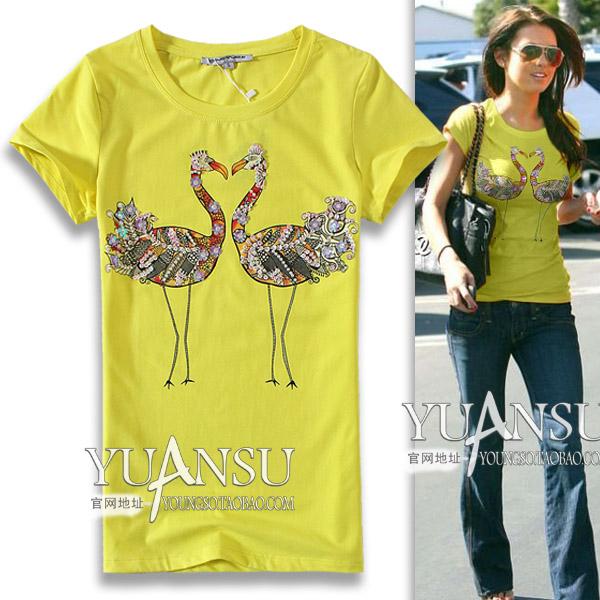 hand-sequined Swan pattern summer animal rhinestones slim short-sleeve T-shirt round neck casual women's tops yellow 2015 hot(China (Mainland))