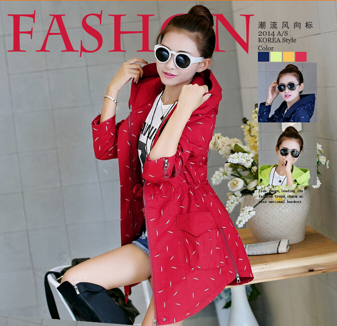 Women's Overcoat 2015 Spring - Autumn new Fashion casual Slim was thin hooded printing trench coats for women Clothing(China (Mainland))