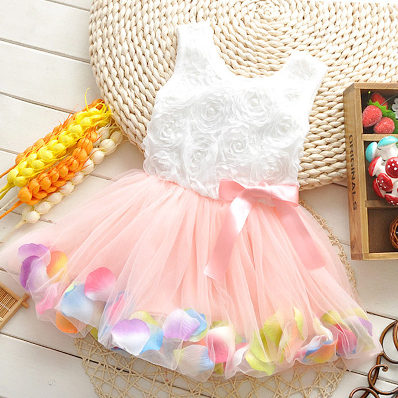 Summer baby girls dress girl flower rose petal hem dress candy color cute casual dress vestidos infantis 1-5 year tutu dresses