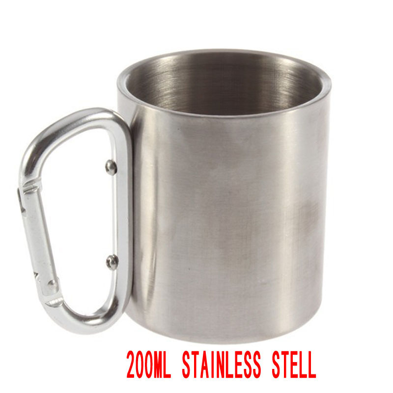 200ML Stainless Steel Camping Cup Double Wall Carabiner Hook Mug Portable Outdoor Tablewares(China (Mainland))