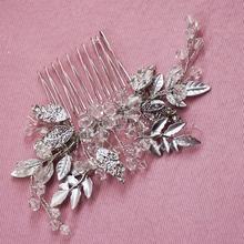 Vintage Silver Bridal Hair Comb Crystal Beaded Wedding Headpiece Leaf Decoration Hair Accessories