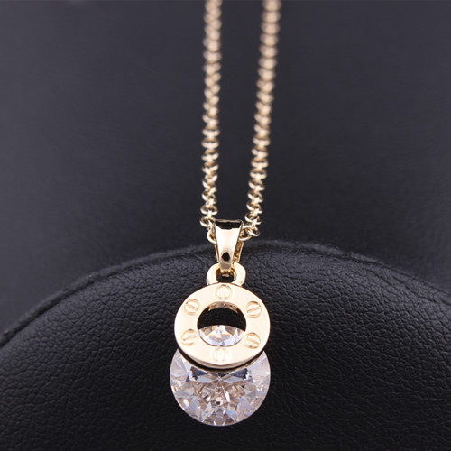 Wholesale New Jewelry 18K Gold Plated Cubic Zircon CZ Wedding Gift Brand Design Pendant Copper Chain Necklace N779(China (Mainland))