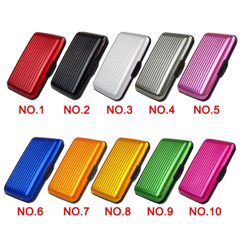 New Free Shipping Womens Mens Aluminum Metal Wallet Business ID Credit Card Case Stripe Box Holder