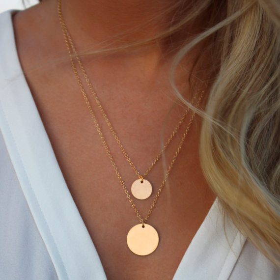 Aonani Double Layered Gold Sequin Double Strand Necklace Layering Disc Boho Necklace Beach Jewelry XY N505