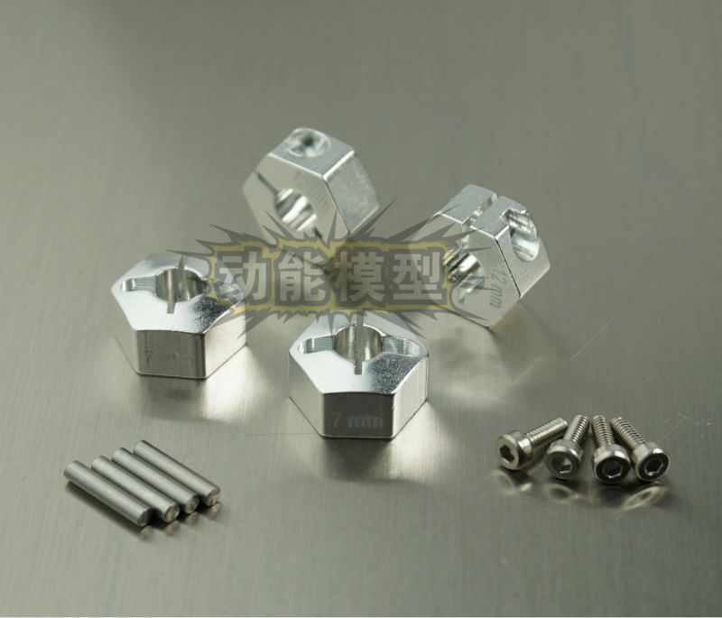 Aluminum Alloy 12mmx7mm Wheel Hub Hex Drive Adaptor for SCX10 WRAITH CC01 SILVER(China (Mainland))