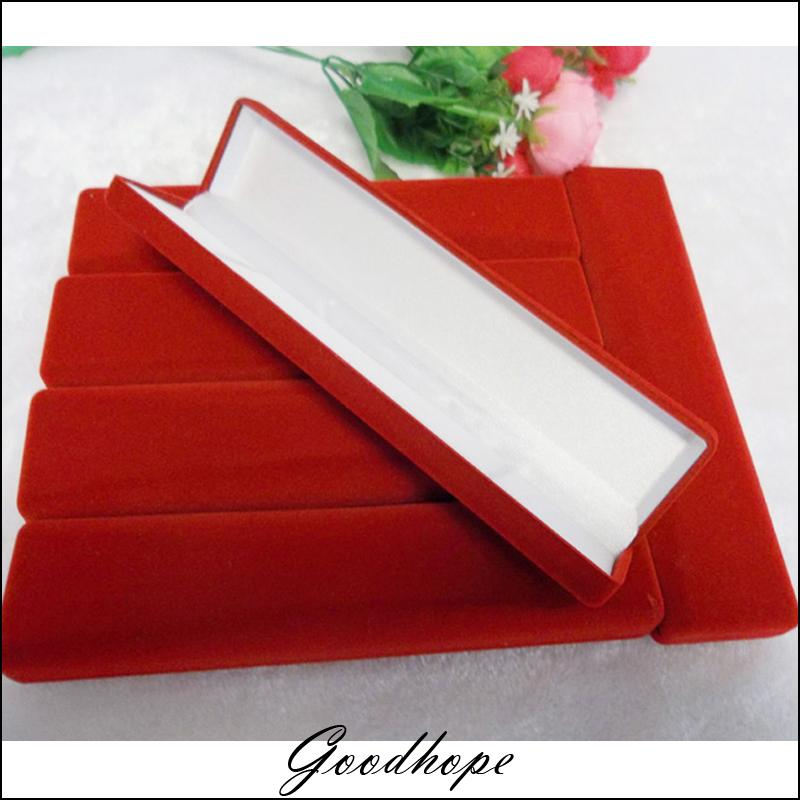 Popular long necklace storage buy cheap long necklace for Red velvet jewelry gift boxes