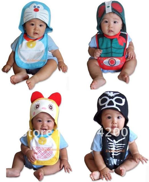 16 sets/lot-Free size 6 styles baby modeling bibs+hat/infant cartoon bibs/fashion baby bibs/Animal style