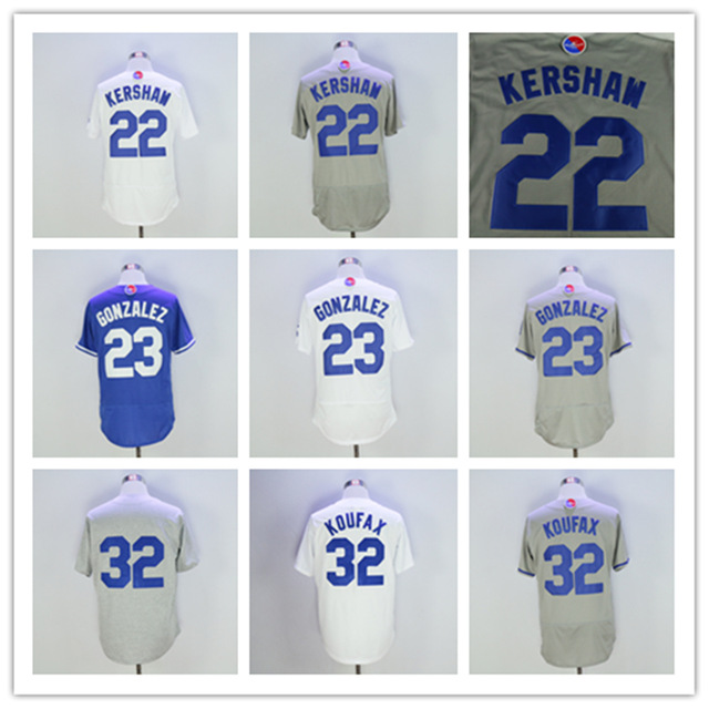 2016 Los Angeles Jersey 22 Kershaw Jersey 23 Gonzalez 32 Koufax Jerseys New Arrivals Baseball Jersey White Blue Grey(China (Mainland))