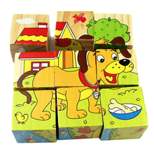 Free Shipping Hot Wooden Animals Kid Children Baby Educational Toy Cartoon Puzzle FCI#(China (Mainland))