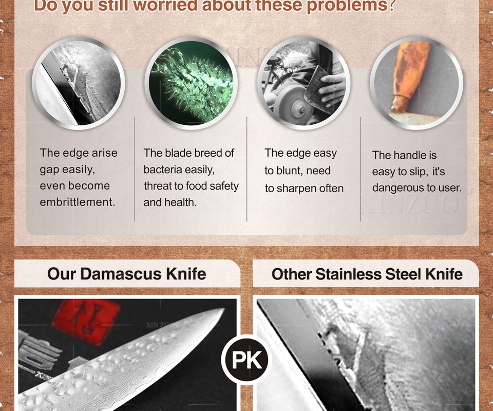Buy 2 pcs kitchen knives set 67 layers Japanese VG10 Damascus kitchen knife very sharp chef utility knife wood handle free shipping cheap