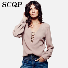 Solid Womens Chiffon Blouses Casual V Neck Summer Blouses And Tops 2016 New Elegant Spring Long Sleeve Woman Shirts Blouses(China (Mainland))