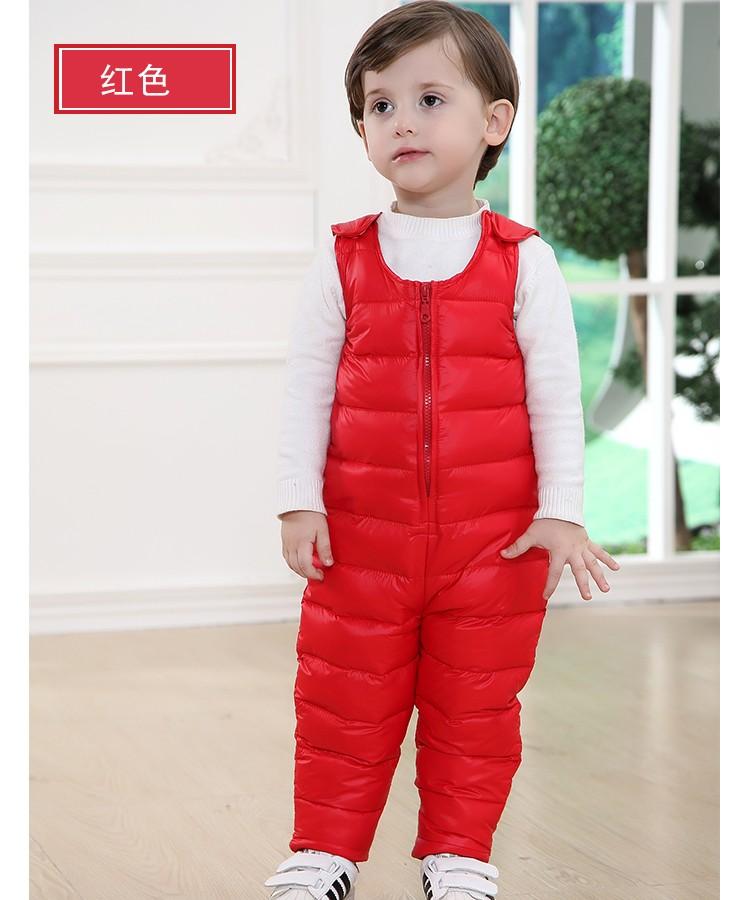 Скидки на Новые зимние одежда младенца дети утка вниз брюки высокой талии теплые комбинезоны для снег износ малышей мальчики девочки теплый комбинезон верхняя одежда
