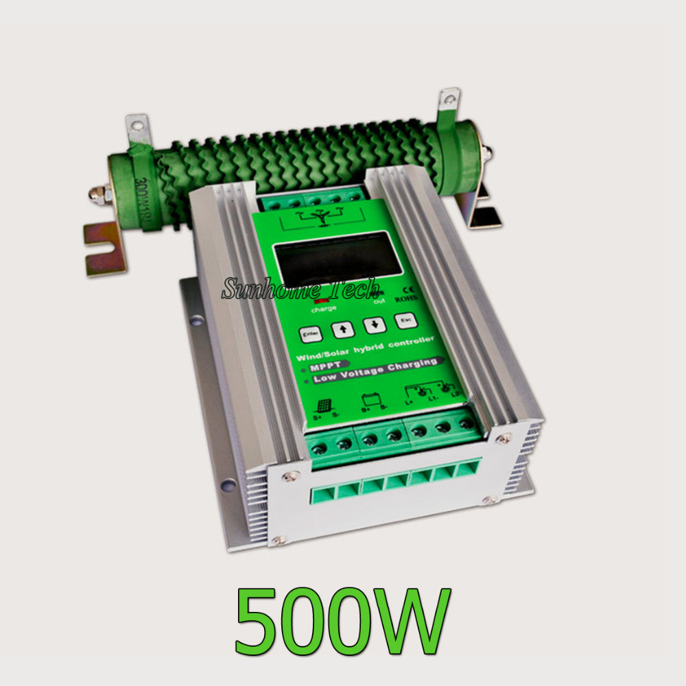 800W mppt hybrid wind solar system controller with dump load resistor 24V 500W wind+ 300W solar, booster charging & lcd(China (Mainland))