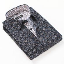 2016 New floral men shirts  long sleeve turn-down collar slim fit polka dots mens shirt  Fashion Autmun casual  shirts male 4xl(China (Mainland))