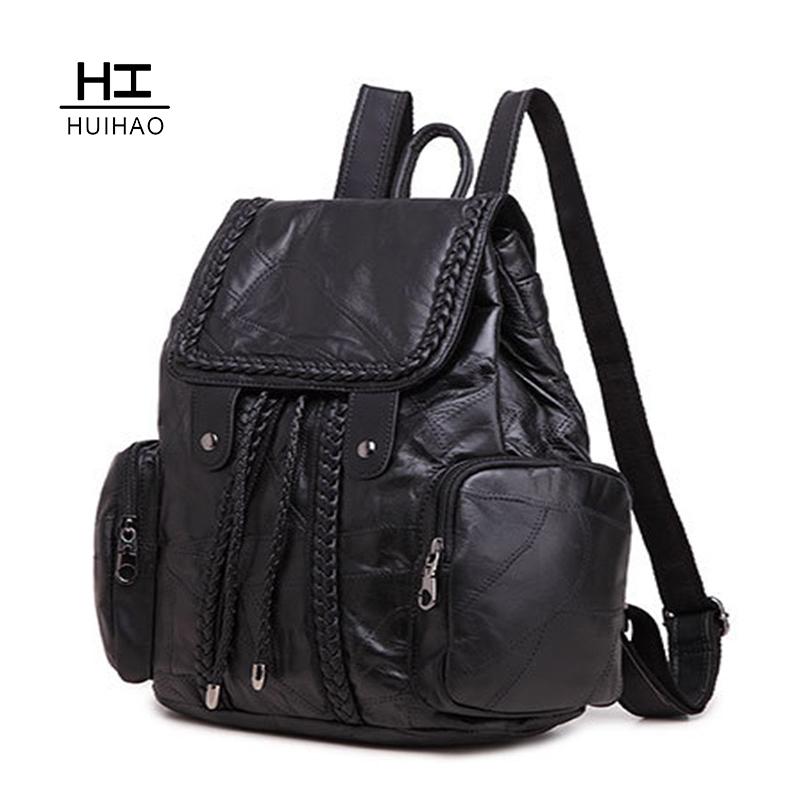 2015 New Arrival  Fashion Genuine Leather Women Solid Softback  Backpacks  Woman Bag Street Fashion A1413 <br>