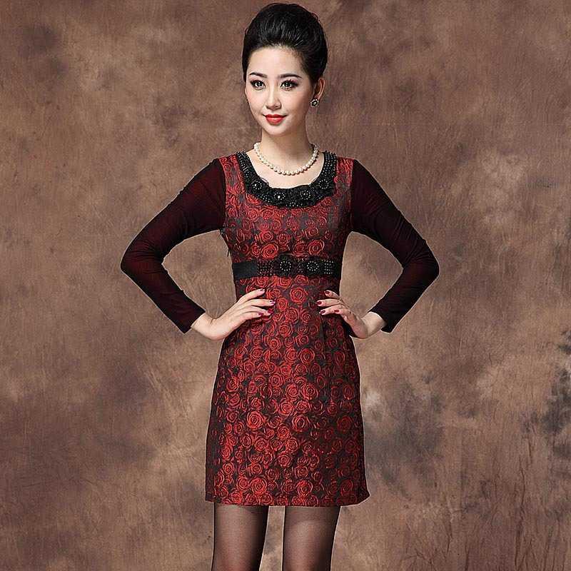 Free Shipping Swan sister beaded crewneck Jacquard size waist dress 1435238569(China (Mainland))