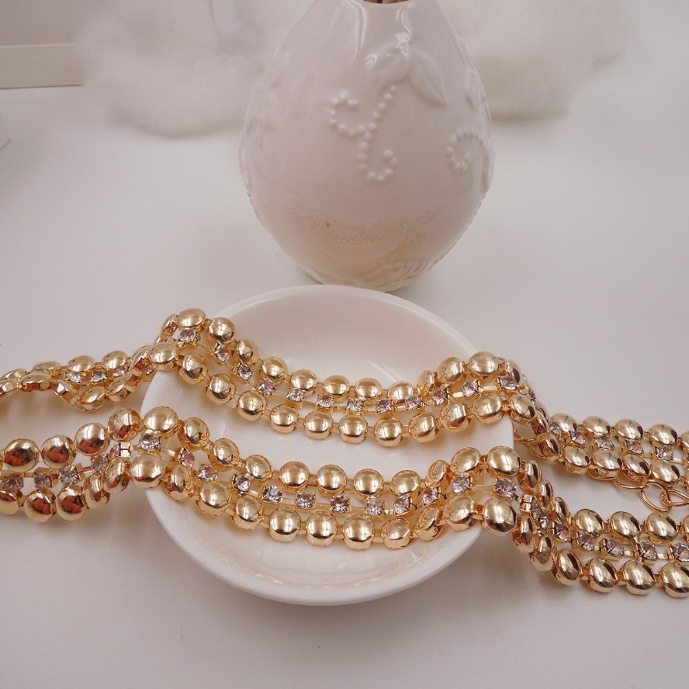 2016 New Two rows of metal circular mosaic crystal Thin Metal Belts Fashion Waist Chain Belt