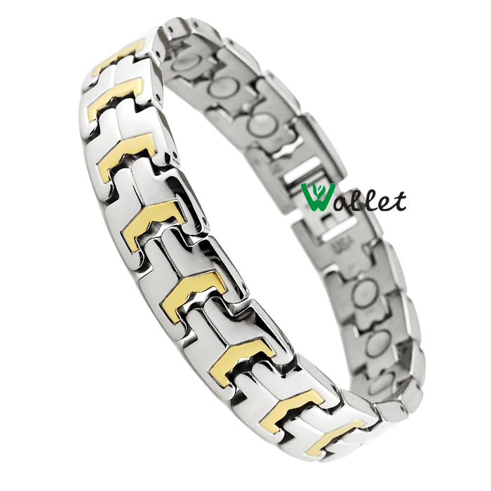stainless steel bracelet for men gold plating health  jewelry  tourmaline germanium pure bio magnetic titanium bracelet(China (Mainland))